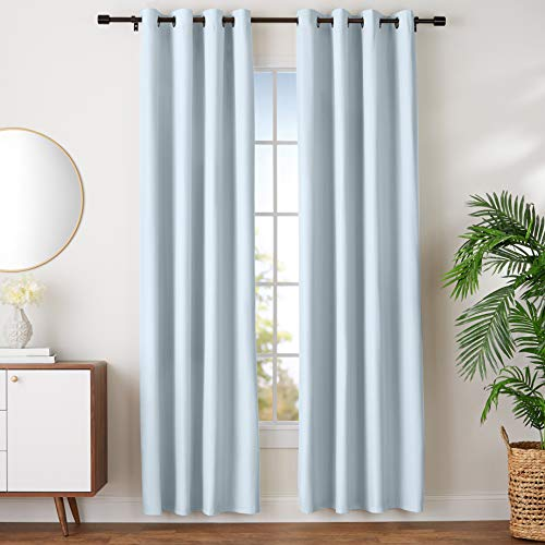 "Amazon Basics Room Darkening Blackout Window Curtains with Grommets - 52"" x 96"", Light Grey, 2 Panels"