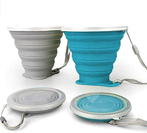 ddLUCK Faltbare Silikon-Becher, 2 Stück, BPA-frei, faltbare Reisebecher, faltbare Silikon-Becher mit Kunststoff-Deckel, wiederverwendbar, tragbares Tassen-Set für...