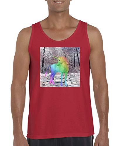 Druckerlebnis24 Tank Top - Camiseta sin Mangas para Hombre y Hombre, diseño de Unicornio, Multicolor Rojo XL