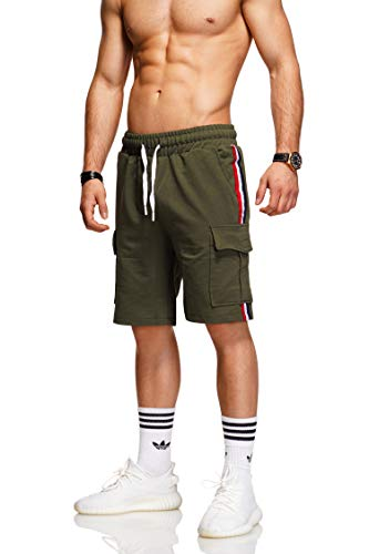 behype. Herren Sweat-Shorts Kurze Hose Sport-Hose Jogging-Hose Trainings-Hose Freizeit Side-Stripe 60-8110 Khaki L