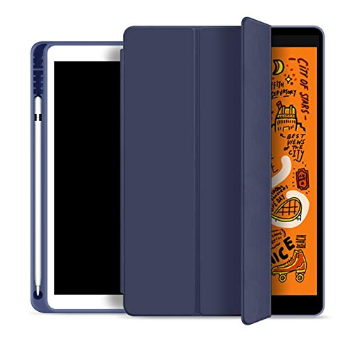 HHF Tab Accessories For 2019 iPad 10.2 7th 2018 2017 9.7 MINI 4 5 2020 Pro 11 10.5 Air 3, Pencil Holder Smart Cover case for iPad 5th 6th Generation (Color : Dark blue, Size : For 2018 iPad Pro 11)