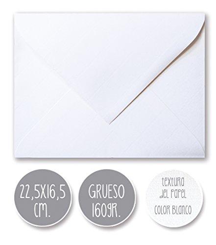 sobre boda clásico, 160gr GRUESO, GRAN CALIDAD, 22,5X16,5cm. (BLANCO) 25 und.