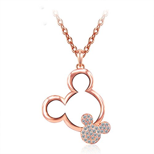 ERLUER Women's Mickey Pendant Necklaces for Women Rose Gold Platinum Plated Mouse Charm Jewelry Necklace Wedding Gift (Rose Gold Plated)