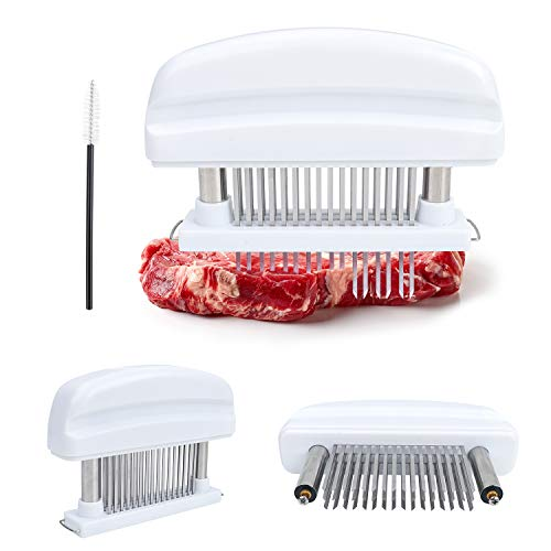 Meat Tenderizer Needle Tool, 48 Stainless Steel Sharp Loose Meat Needle Blades & Safety Lock, ledorr Kitchen Cooking Accessory for Steak Beef Pork Fish Veal Chicken Tenderizing BBQ Marinade - White