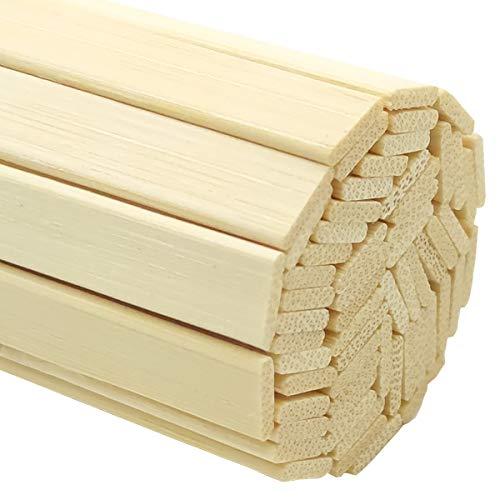 Worown 60 uds. 40cm Fuertes palos de bambú natural, Palos de madera para manualidades, Palos extra largos, Tiras de madera para proyectos artesanales, 0.95cm de ancho