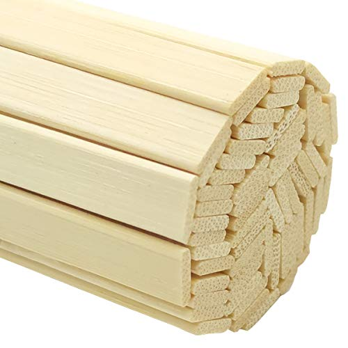 Worown 120 pcs 11.8 Inch Strong Natural Bamboo Sticks, Wooden Craft Sticks, Extra Long Sticks, Wood Strips for Craft Projects, 3/8 Inch Width