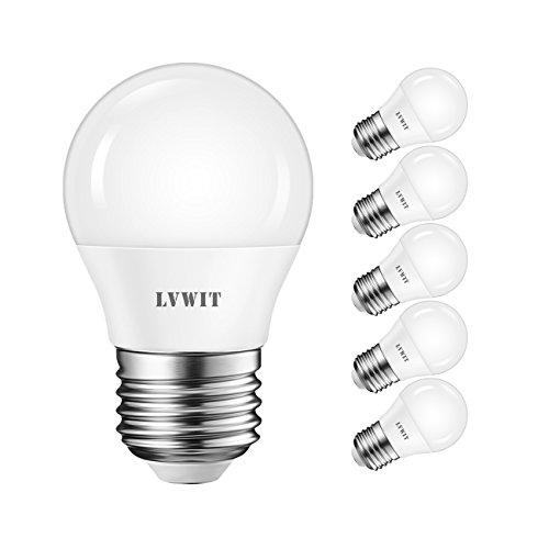 LVWIT E27 4.5W LED-Tropfenlampe matt, Kaltweiß 6500K, 470lm LED-Lampe Mini Globe (6-er Pack)