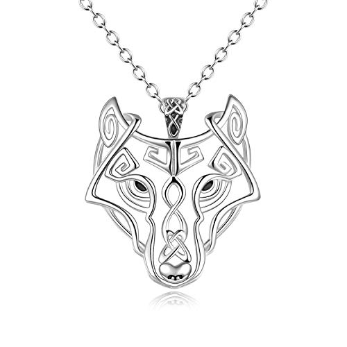 YFN Wolf Necklace Sterling Silver Celtic Knot Wolf Head Pendant Necklace Viking Jewellery Gifts for Men Women Girls 20'' (White)