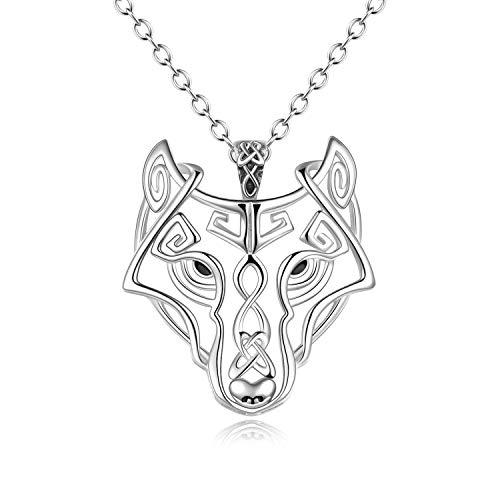 YFN Sterling Silber Viking Wolf Halskette Celtic Wolf Kopf Necklace Jewellery Geschenke für Männer Frauen Mädchen 20 '' (Wolf Kopf Anhänger Halskette 20 '')