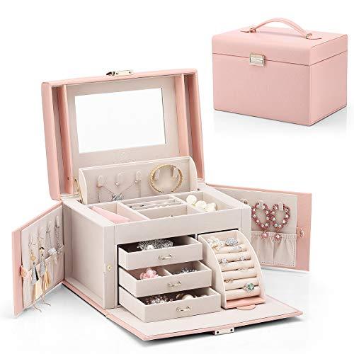 Vlando Jewelry Box Faux Leather Medium Jewelry Organizer Vintage gift for Women -Pink-Cross Pattern