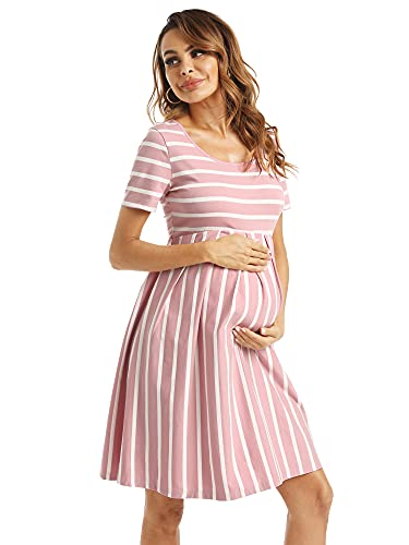 Product Image of the GLAMIX Women's Maternity Dress with Pockets Short Sleeve Front & Back Pleat...