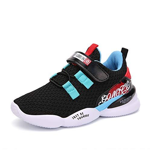 Zapatillas Deportivas Unisex Niños Zapatillas de Correr Niño Zapatos Deportivo Velcro Ligero Transpirable Niña Zapatos de Running Deportes de Exterior Interior; Negro & Azul; 36 EU