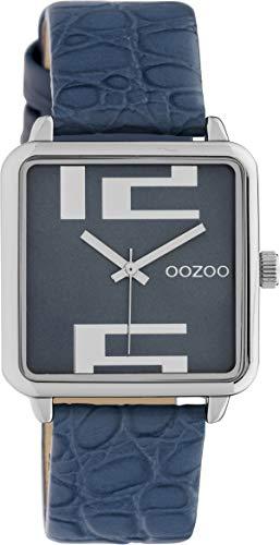 Oozoo Damenuhr Quadratisch mit Lederband 28 x 28 MM Silber/Blau C10366