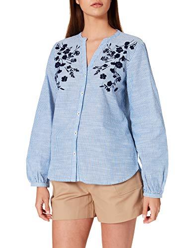 Springfield Camisa Estampado Flor Relieve, Azul Claro, 36 para Mujer