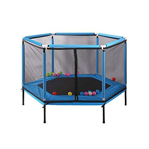 Pulley Cama elástica infantil de 62 pulgadas, cama elástica para interiores y exteriores, regalo de cumpleaños para niños, rojo y azul (color: azul)