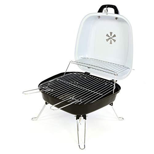 Lenox Mini Koffer-Grill Holzkohlegrill Minigrill für Garten Camping Terrasse Festival Picknick Party BBQ Barbecue 34 x 36 cm Grillfläche weiß