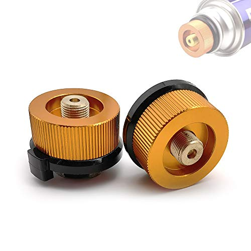 SUNFUA 2 Pcs BBQ Barbecue Herd Stecker Gas Adapter Gas Kartuschen Adapter Camping Gasherd Adapter für Picknick im Freien Kochen(Orange)