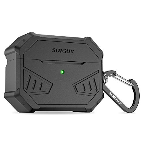 SUNGUY AirPods Pro Case Cover Cool Silicone Armor Case Protective Soft Skin with Keychain for Apple Airpods Pro Charging Case (Black)
