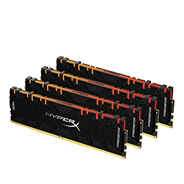 HyperX Predator DDR4 RGB 64GB Kit (4 x 16GB) 3200MHz CL16 DIMM XMP RAM Memory/Infrared Sync Technology- Black (HX432C16PB3AK4/64)