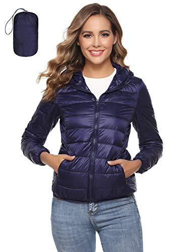 Aibrou Doudoune Femme a Capuche,Doudoune Légère d'hiver à Capuche pour Femme,Bleu Foncé,XL