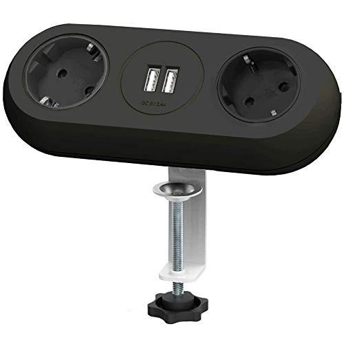 Orno AE-13133/W Tisch Steckdose 2-fach mit 2x USB Ladegerät, 1.4 Meter Kabellänge, Farbe: Schwarz, 3680W Schuko