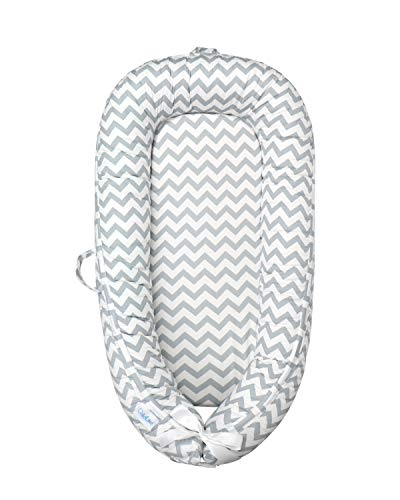 ChildLike Baby Lounger,Baby Nest,Newborn Lounger, Cosleeper for Baby-Portable Super Soft 100% Cotton Breathable Bedside Bassinet for Baby (Gray)