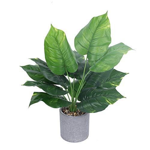 NAHUAA Piante in vaso Piante Artificiali Pianta di plastica con Plastica Vaso per Decor per Balcone/Cucina/Soggiorno/Ufficio