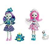 Enchantimals Patter Peacock y Flap, muñeca con Mascota (Mattel FXM74) + Saffi Swan, Muñeca, Multicolor (Mattel FRH38)