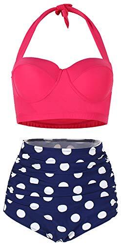 ChayChax Damen Hoher Taille Badeanzug 50er Retro Polka-Punkt Badeanzüge Bademode Zweiteiler Bikini Set Schwimmanzug, Rose Rot +Blau Punkt, Größe M