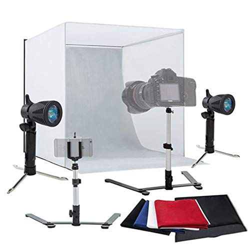 Dalkeyie 25 x 25 inches Table Top Photography Studio, Portable Foldable Photo Tent, with 2 Mini Halogen Lights, Camera Tripod, Mobile Phone Bracket, 4 Color Backdrops(White/Red/Blue/Black)
