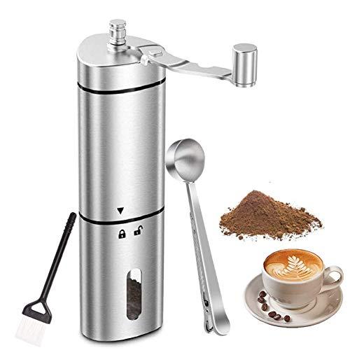 Mixnon Moulin à café manuel, portable en acier inoxydable, moulin à café à manivelle, moulin à café à main, taille compacte, avec pinceau, cuillère et clip pour la maison, le bureau, les voyages (1 #)