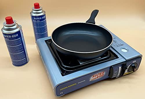 Kit Cocina Portátil a Gas + Sarten iSTEEL 22cm (Alta Calidad) + 2 Recambios Gas | Kit Cocina Aire Libre | Maletín Cocina Incluido