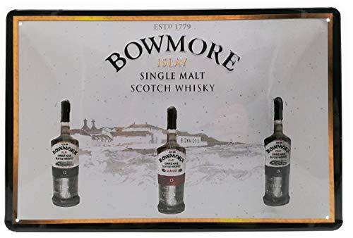 Mehr Relief-Schilder hier... BOWMORE Singel Malt Scotch Whisky - Retro Blechschild - 30 x 20 cm