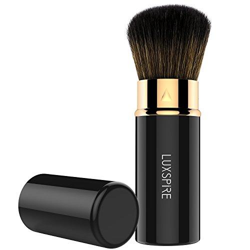 Luxspire Pinceau Blush Rétractable Rotatif, Professionnelle Pinceau kabuki de la Poudre Bronzante ou du Blush Poudre Ultra-Doux Outil de Maquillage, Noir & Or Rose