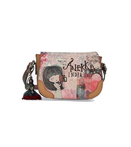 Anekke | Mini Bandolera para Mujer con Solapa | Original Bolso Bandolera Portatodo | Moderno, Casual y a la Moda | Para Mujeres | Tamaño Ideal para Pasear o Ir de Compras