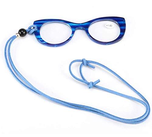 ZZAI Gafas de Lectura Colgante Collar Colgante Cuello Colgante para Damas Portátiles/Gafas Marco Gato Ojos Gafas de Lectura Moda -6 Diopter 4 Colores Azul- + 3.5 (Color : Blue, Size : +2.0)