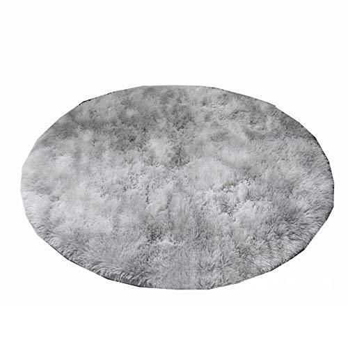 Zuoye Alfombra redonda mullida de felpa anudada lavable estilo nórdico alfombra para dormitorio sala de estar alfombra circular gris