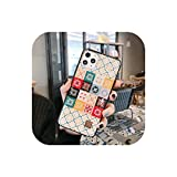 Carcasa de lujo con purpurina para iPhone 11 Pro Xs Max X XR 6 6s 7 8 Plus Gold Foil Silicona cubierta trasera protectora de mosaico geométrico D32-For i7 Plus i8 Plus