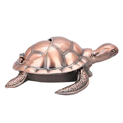 Cinzeiro, ornamentos de escritório, antiderrapante Fácil de transportar Sea-Turtle-Sha para casa de escritório(Red copper)