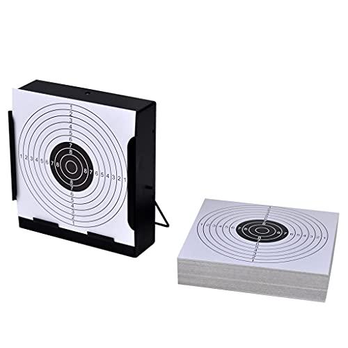 vidaXL Soporte Cuadrado para Blancos de Tiro + 100 dianas de 14 cm Disparos