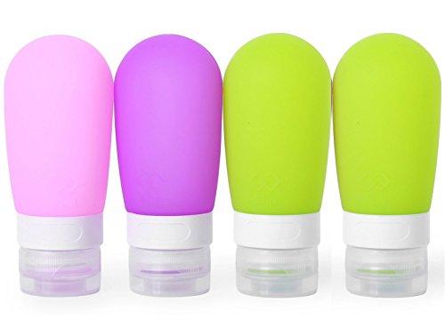 MUUZONING Forma de Bombilla Botellas de Viaje de Silicona, 100% BPA Gratis Recipientes rellenables portátiles a Prueba de Fugas para Acondicionador,Loción,artículos de tocador(4 Unidades)