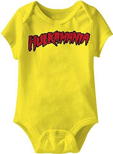 Hulkamania Hulk Hogan Logo gelb Kleinkind Onesie Baby Strampler (12 Monate)
