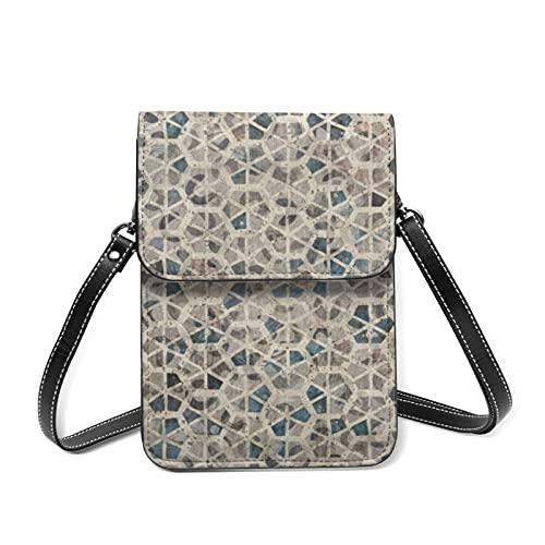 Bolso de cuero para mujer con diseño de azulejos digitales, de cerámica, con cinturón ajustable, color Rojo, talla Talla única