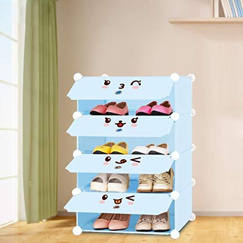 XBDD Rack de zapatos moderno Teta de zapatos de 4 cubo, organizador de almacenamiento de cubos de bricolaje, múltiples gabinetes de plástico de armario modular con puertas y ganchos adicionales para l