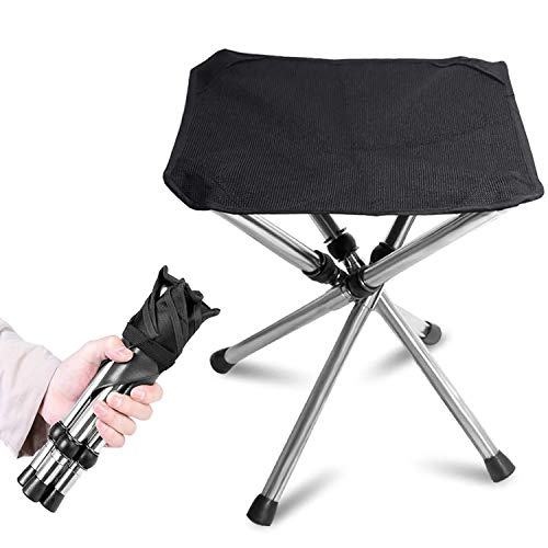KVASSアウトドアチェア 折りたたみ椅子 軽量 コンパクト キャンプ イス 4脚伸縮 耐荷重100kg 収納バッグ付き 釣り 運動会 登山 BBQ ステンレス鋼 黒