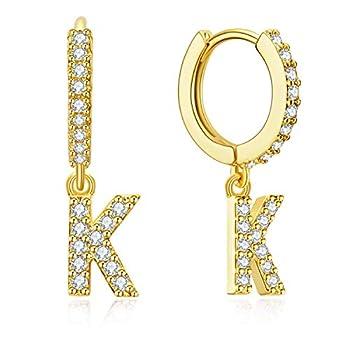 Ldurian Initial Earrings for Women Girls Letter Huggie earrings with 14K Gold Plated Cubic Zirconia Hoop Earrings Dangle Tiny Earrings Jewelry Gift for Girls Women Teen  Letter K earrings