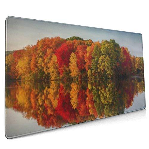 Multifunktions-Gaming-Mauspad, Computertastatur-Mauspads für Spiele - Herbstfarben, die Sich in einem Teich widerspiegeln Herbstwaldlandschaft MPD-414