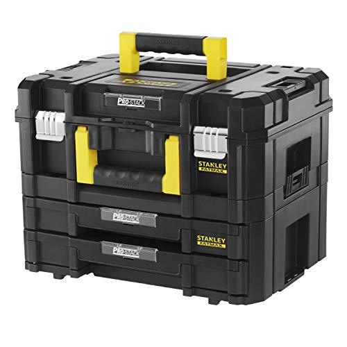 Stanley FatMax Pro-Stack Werkzeugkoffer Combo(21,5L Fassungsvermögen, mit 2 Schubladen und Organizern für Kleinteile, mit Metallschließen, mit herausnehmbaren Innenteilern) FMST1-71981