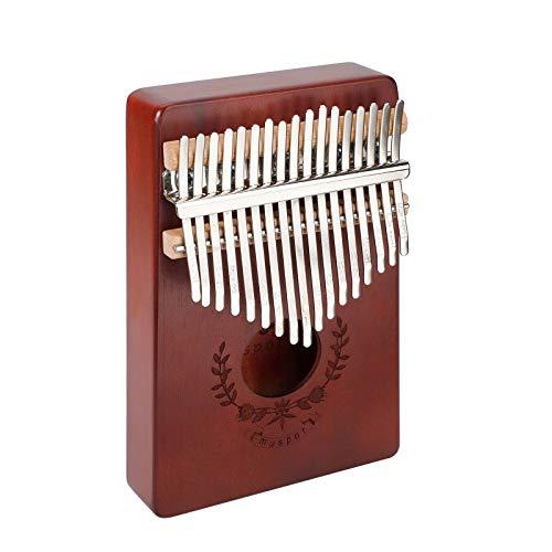 Kalimba 17 chaves, madeira de mogno sólida portátil Mbira madeira africana instrumento musical piano de dedo, piano de polegar com livro de música inglesa e martelo de melodia, marrom