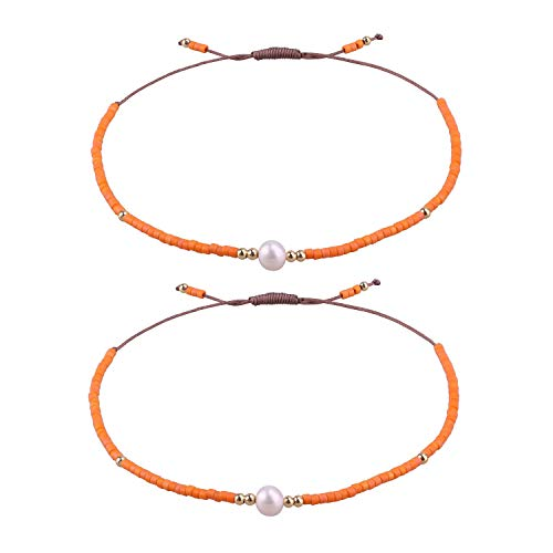 KELITCH 2 Stück Freundschaft Armbänder Neue Seed Perlen Woven Liebhaber Armbänder Handgemachte Strang Armreifen Geschenke (Orange 01G)